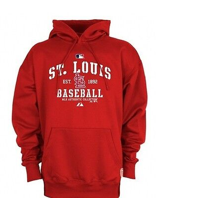 hot sale online e901f 51158 St Louis Cardinals Hoodie 6XL Authentic Therma Base Hooded Sweatshirt MLB  Red | eBay
