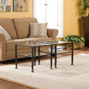 Metal and Glass Cocktail Table - Set of 2 End Tables or Bunch Coffee Table Black