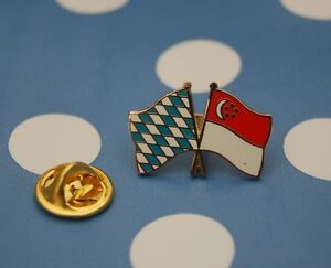 Freundschaftspin-Bayern-Singapur-Pin-Badge-Button-Anstecker-Laenderpin-Sticker
