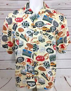 7cdce5c31 NFL NEW YORK JETS Mens MEDIUM Rayon Hawaiian Shirt Football Fans ...