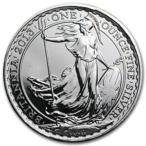 2013 UK £ 2 Pounds British Royal Mint Britannia 1 oz .999 Silver Coin