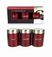 New 3PC Set of Tea Coffee Sugar Kitchen Storage Canisters Jars Pots Containers