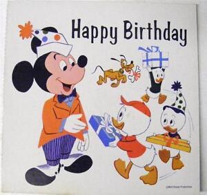 Image Is Loading VINTAGE DISNEY MICKEY HUEY DEWEY LOUIE HAPPY BIRTHDAY