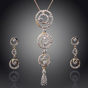 18K-GOLD-PLATED-amp-GENUINE-AUSTRIAN-CRYSTAL-CLEAR-NECKLACE-amp-EARRING-SET