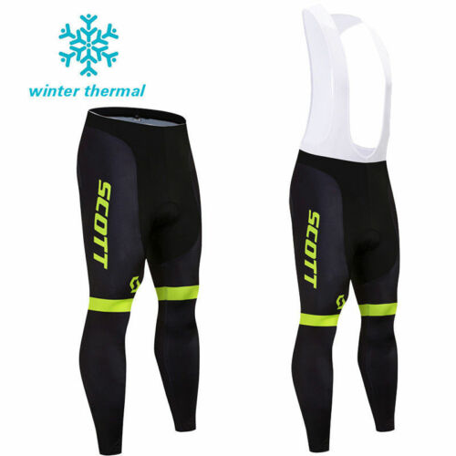 Mens Cycling Bib Tights Winter Thermal Padded Long Legging Cycling Trouser