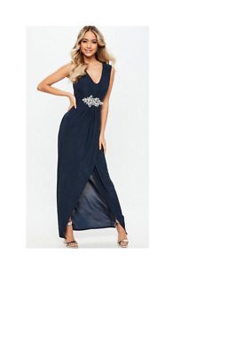 NEW Missguided Navy Bridesmaid Navy Plunge Diamante Trim Waist Maxi Dress