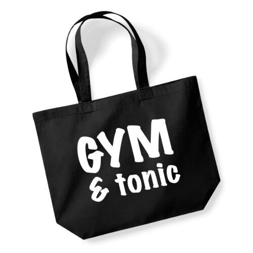 Gym /& Tonic Cotton Shopping Bag//Tote Novelty//Funny Secret Santa Gift