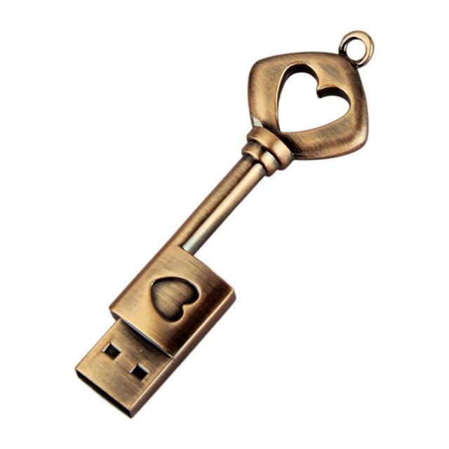 USB 2.0 USB Stift Drive Herz Metall USB Flash Laufwerk Schluessel (Kupfer, 8G KD