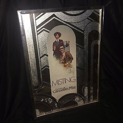 Vintage Mirror Wall Hang Ad Sign Mobster African American Canadian Mist Misting