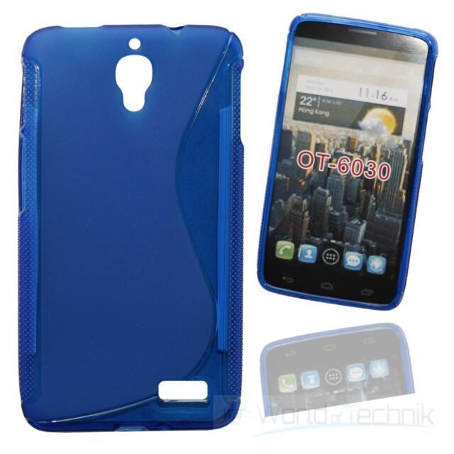Silikonhülle Silicon Case Handykondom für Alcatel One Touch Idol 6030D - blue