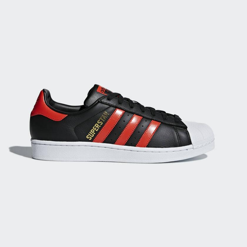 Adidas para hombre SUPERSTAR Cuero Negro Naranja blancoo Zapatillas-Uk 11-UE 46