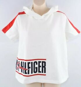 TOMMY-HILFIGER-Women-039-s-Sweatshirt-Style-Hooded-Top-Off-White-size-M