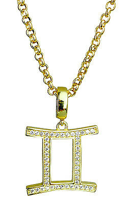Gemini Symbol of the Zodiac Silver or Gold Plated Pendant -Horoscopes Star Signs