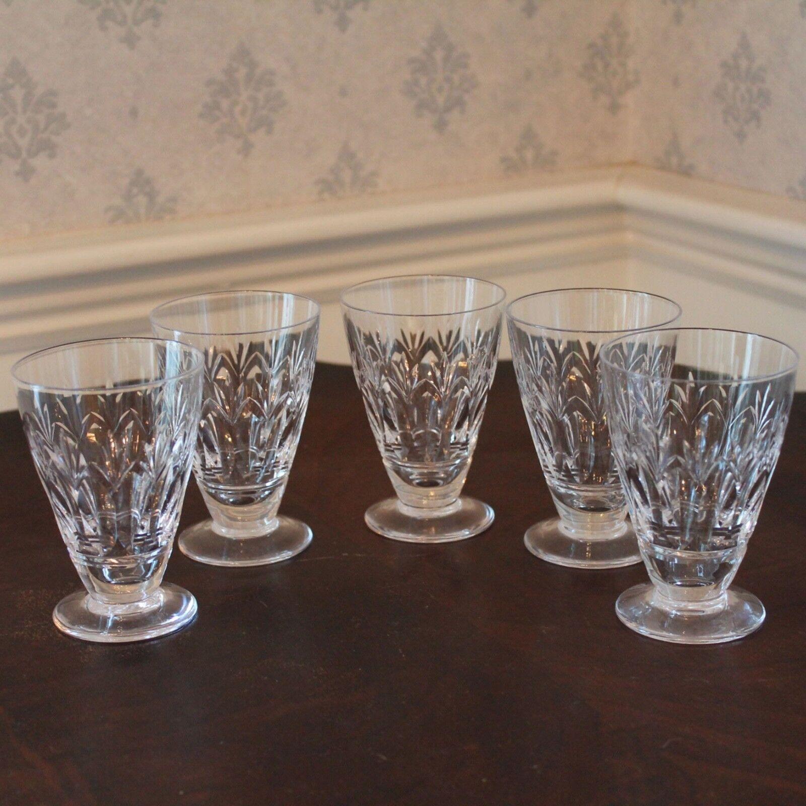 Vintage Set of 5 Stuart English Crystal Juice Glasses in the Cardinal Pattern