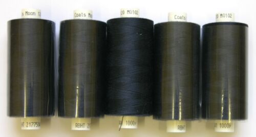 5 x NAVY BLUE MOON POLYESTER SEWING THREADS COTTON 120s 102