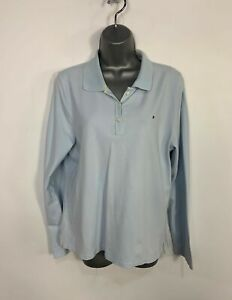 WOMENS-TOMMY-HILFIGER-SIZE-XXL-BABY-BLUE-LONG-SLEEVE-CREW-NECK-CASUAL-POLO-SHIRT