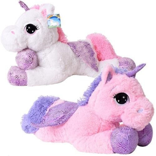 Te-trend Stuffed Toy Unicorn Lying 60cm White Pink with Wings Multicoloured