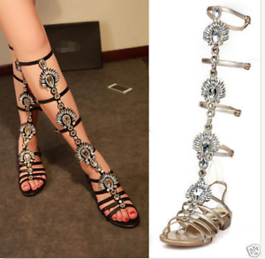 Womens-Gladiator-Sandals-Celeb-Rhinestones-Leather-Diamante-Tall-Flats-Shoes-US