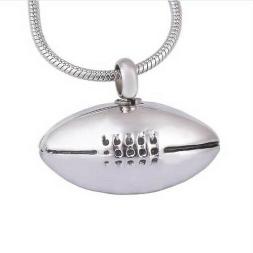 Rugby Football Shaped Silver Stainless Steel Cremation Urn Pendant Necklace