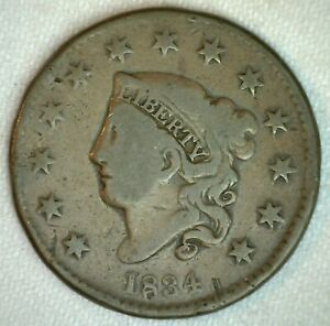 1834-Coronet-Head-US-Large-Cent-Copper-Coin-Good-Grade-1c-US-Penny-Coin