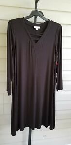 Boutique-Casual-Tank-Dress-A-Line-Shift-Long-Sleeve-Stretch-Plus-Sz-1X-Black-NWT