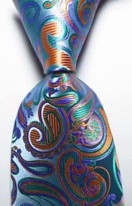 New-Classic-Paisley-Lake-Blue-Orange-JACQUARD-WOVEN-100-Silk-Men-039-s-Tie-Necktie