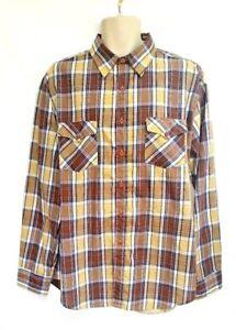 Genuine-Roebucks-Mens-Size-XL-Shirt-Brown-Plaid-LS-Western-Rockabilly-Vintage