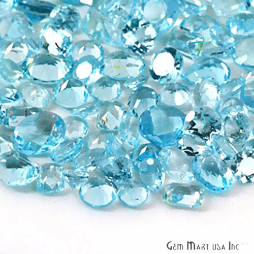 Blue Topaz Loose Gemstone Mixed Cut Faceted Natural Stone Wholesale DIY Gems Lot