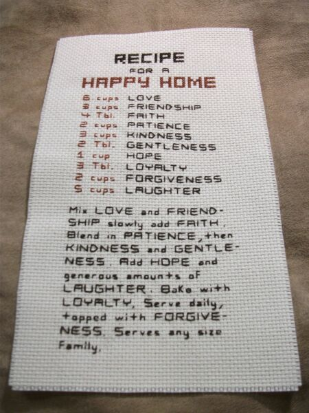 Completed Cross Stitch Recipe For A Happy Home