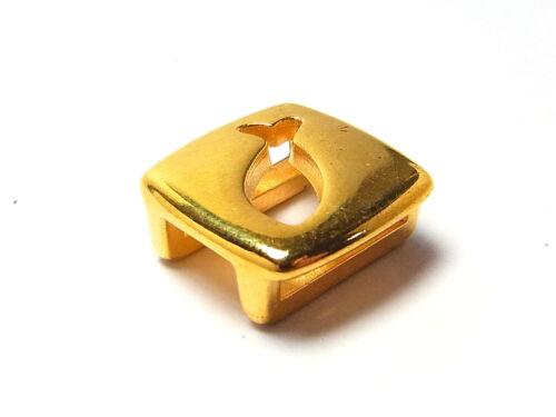 Slider für 10 mm breites Band Metallperle 1 Stück; G176 Fisch vergoldet