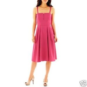 Solid Magenta Sateen Fit And Flare Dress By J Taylor Size