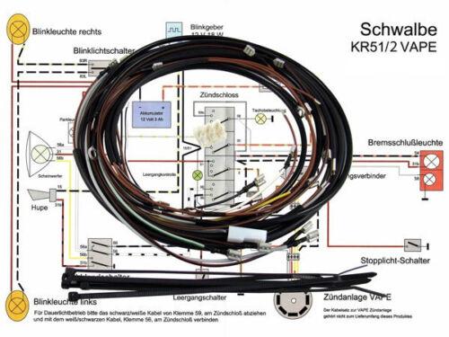 Kabelbaum Simson Schwalbe KR51//2 VAPE 12V mit Schaltplan Deutsche Herstellung
