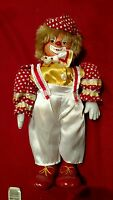 Vintage musical clown wind up porcelain doll  music box moves