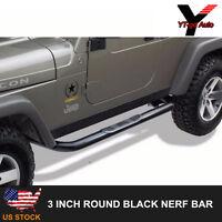 Fits 2007-2017 Jeep Wrangler 2 Door Black 3 Inch Nerf Bars Pair Set Side Step