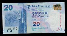 Hong Kong  20 DOLLARS  2010 BANK OF CHINA  PICK # 341  UNC.