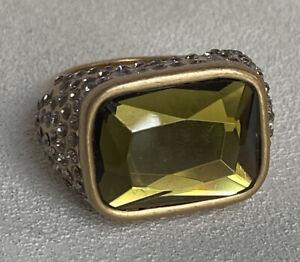 Lia-Sophia-Versailles-Ring-Olivine-Satin-Matte-GoldTone-Size-8-Signed-Pls-Read