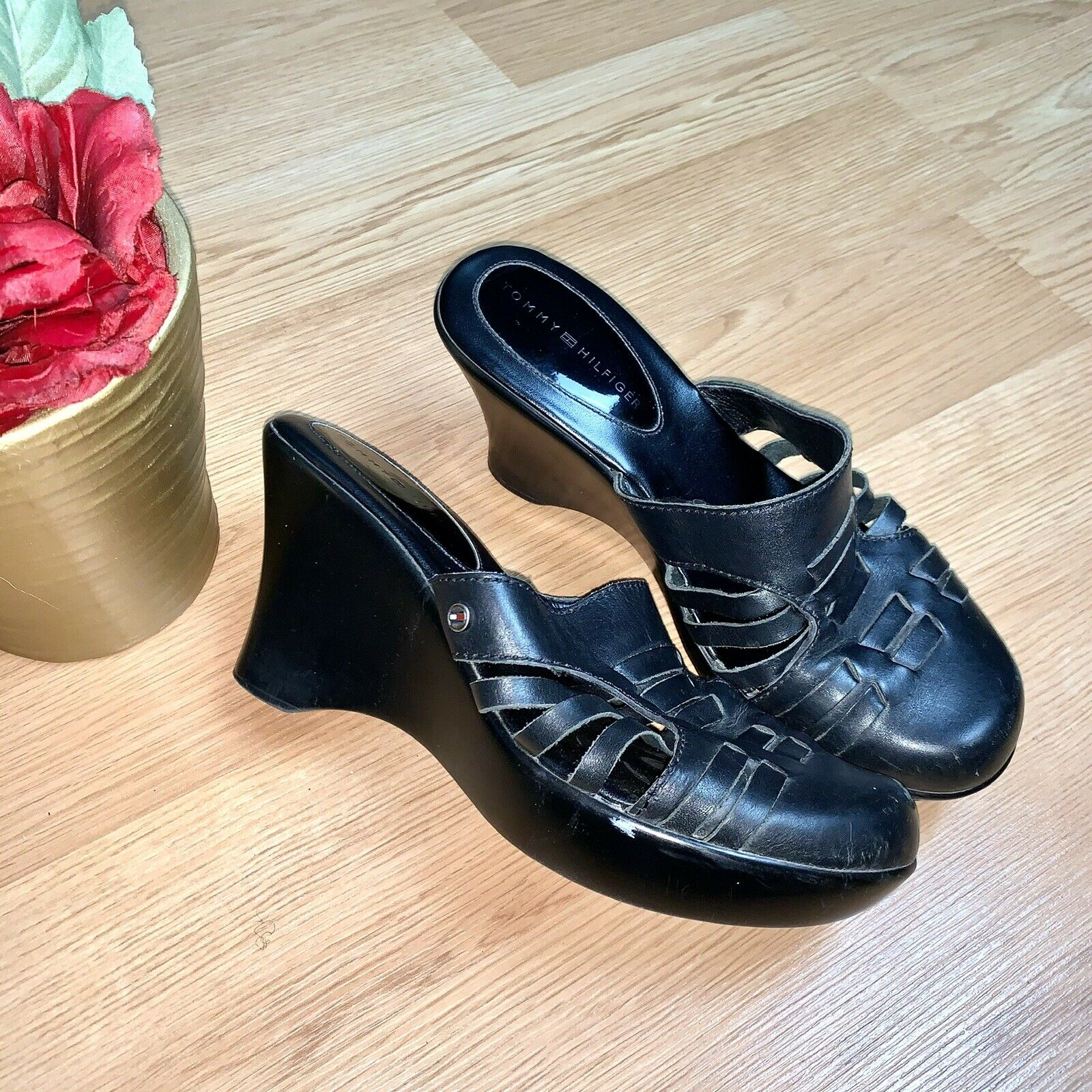 Tommy Hilfiger  Black Mule Leather Wedges Size 8 - image 6