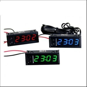 1 X Digital LED Uhr Clock Temperatur Anzeige Thermometer Voltmeter 12 V Auto DE