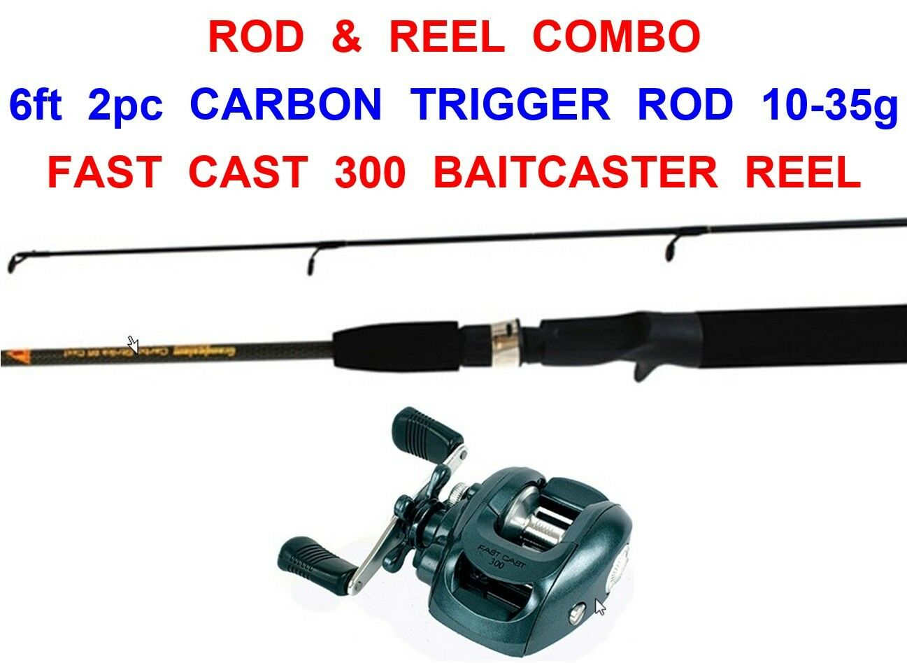 GRANDESLAM 6ft 2pc CARBON TRIGGER GRIP ROD+300 L-HAND BAITCASTER REEL MULTIPLIER