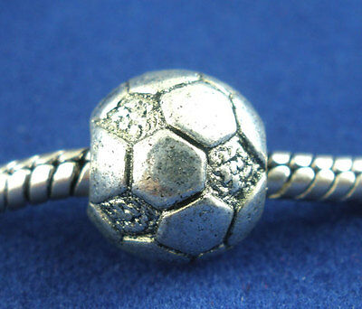 15PCs Silver Tone Football&Soccer Beads Fit Charm Bracelets 11x10mm