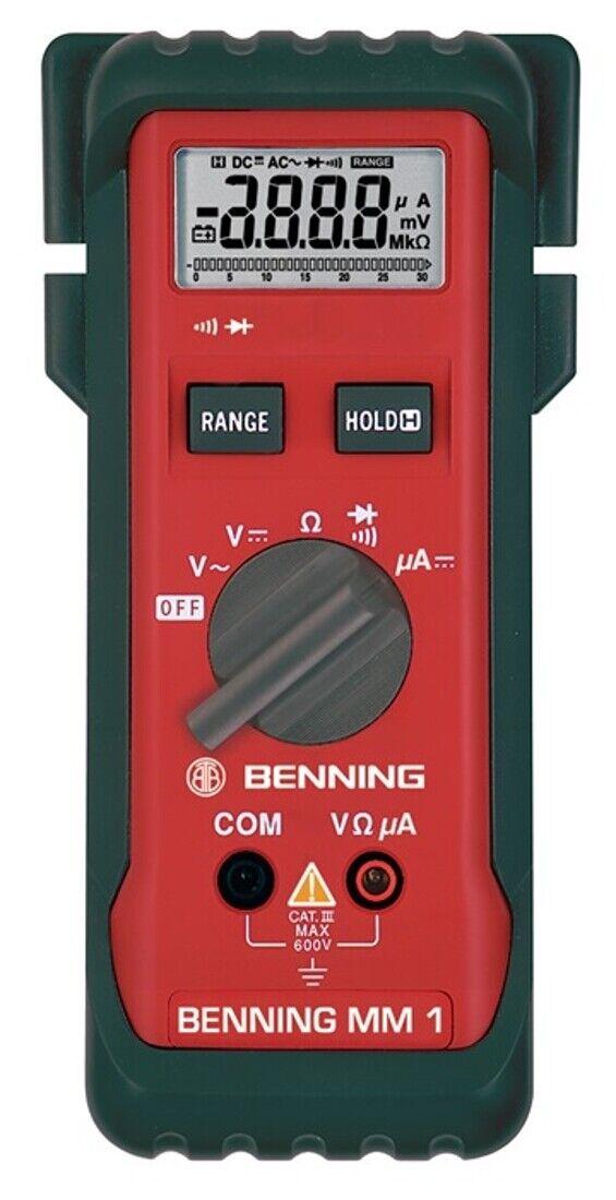 Benning Multimeter 0,1 mV-600V DC 1mV-600V AC MM 1 Spannungsprüfer Stromprüfer