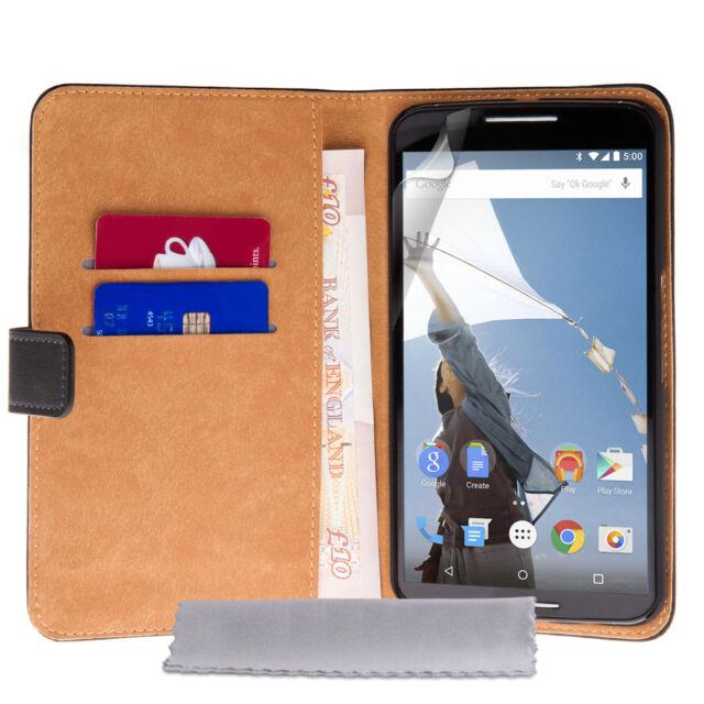 Caseflex Accessories For Motorola Nexus 6 Genuine Real Leather Wallet Case Cover