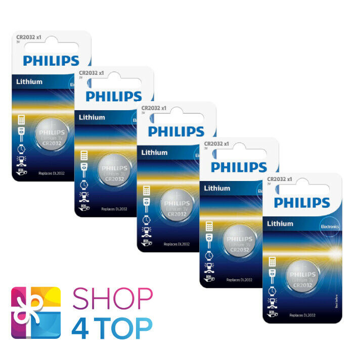 5 Philips CR2032 Lithium Batteries 3V Cell Coin Button 1BL Exp 2031 March New