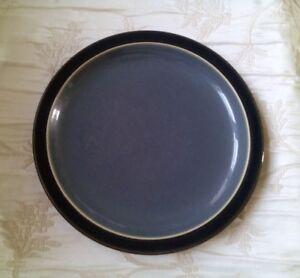 Denby-DUETS-GRAY-and-BLACK-Rim-Salad-Plates-Set-of-3-FREE-U-S-SHIPPING