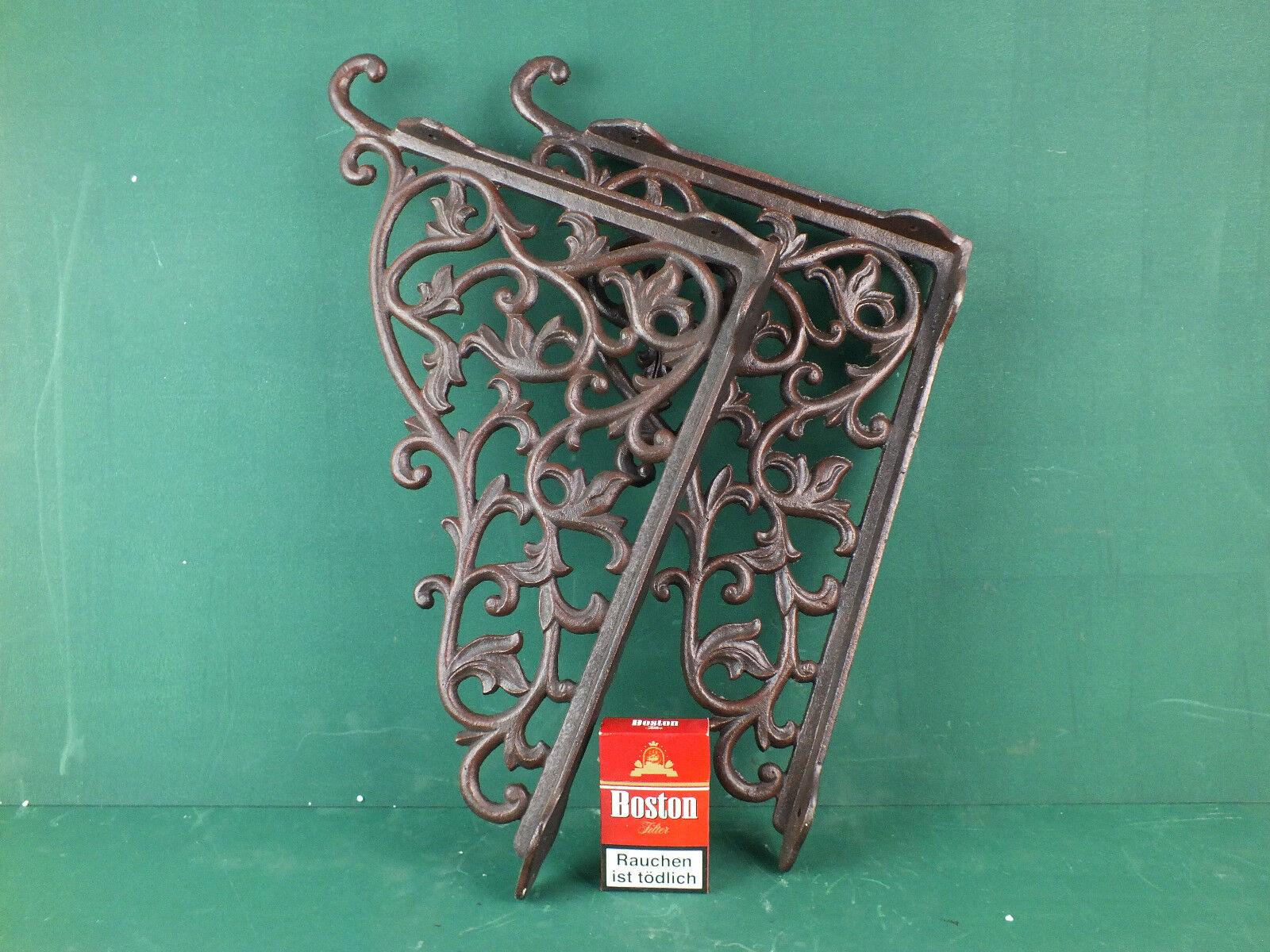 1 Paar Regalwinkel Regalstützen sehr große Jugendstil verzierte Eisen Wandwinkel