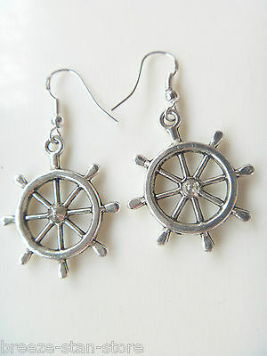 Wholesale fashion charm  12 pairs nautical Rudder jewelry plate silver earrings