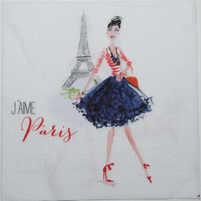 10 Servietten Napkins *Paris City Girl*Lady Dame in Paris ANGEBOT