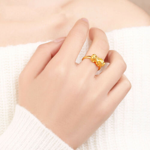 Pure 999 24K Yellow Gold 3D Men Women Bless Lucky 貔貅 PIXIU Ring //1.5g //US Size 8