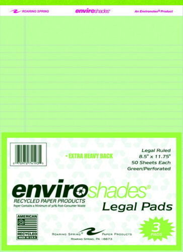 Green 8-1//2 x 11-3//4 Inches Pack of 3 Enviroshades Legal Pads 50 Sheets