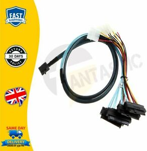 Mini-SAS-SFF-8643-36Pin-to-SFF-8482-29pin-4-Connectors-with-SATA-Power-1M-Cable